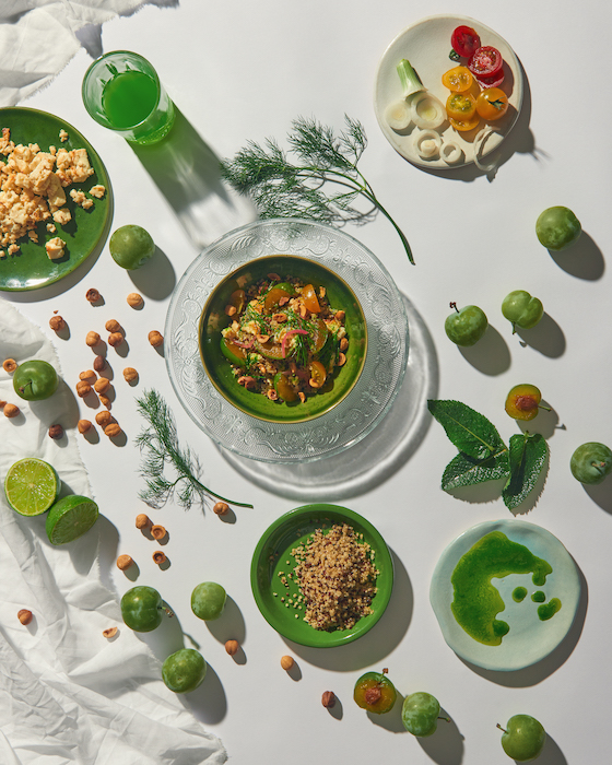 recette de Taboulé au quinoa et prunes vertes