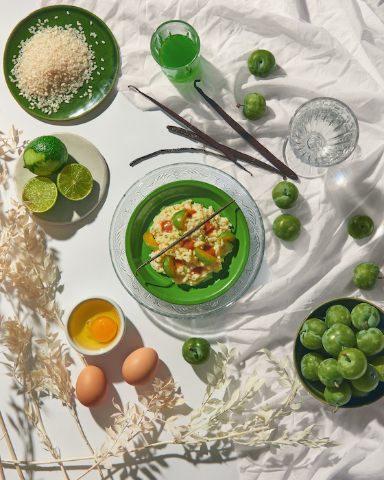 recette de Riz au lait aux prunes vertes
