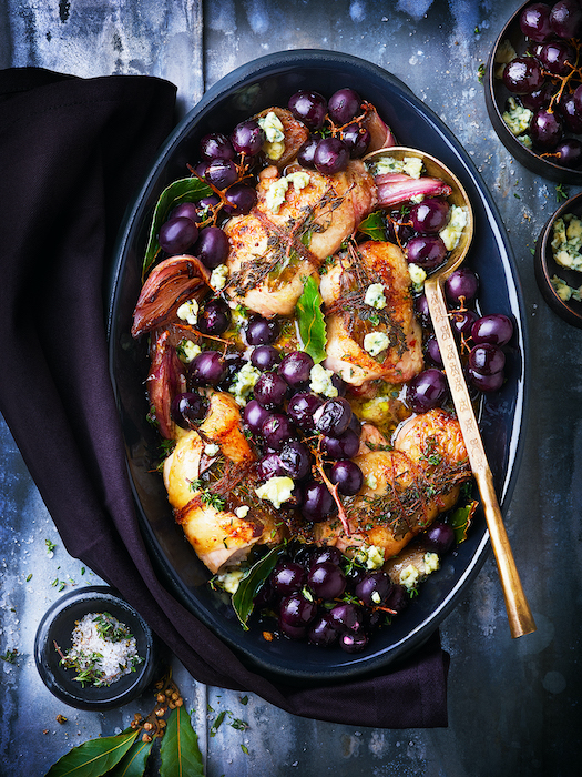 recette de Paupiettes de poulet au bleu et aux raisins