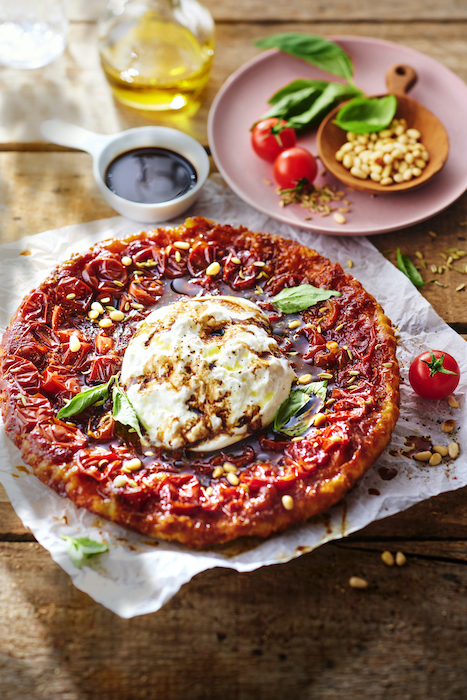 recette de Tatin de tomates cerises à la burrata