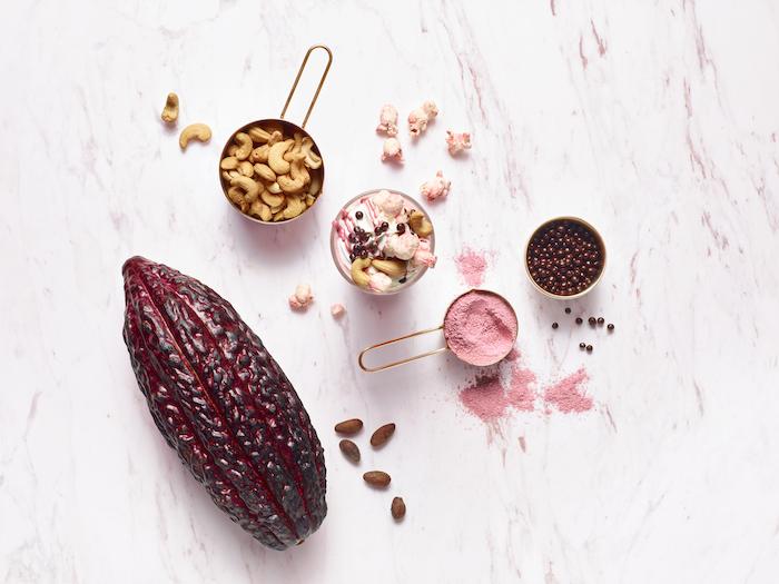 Poudre de chocolat rose