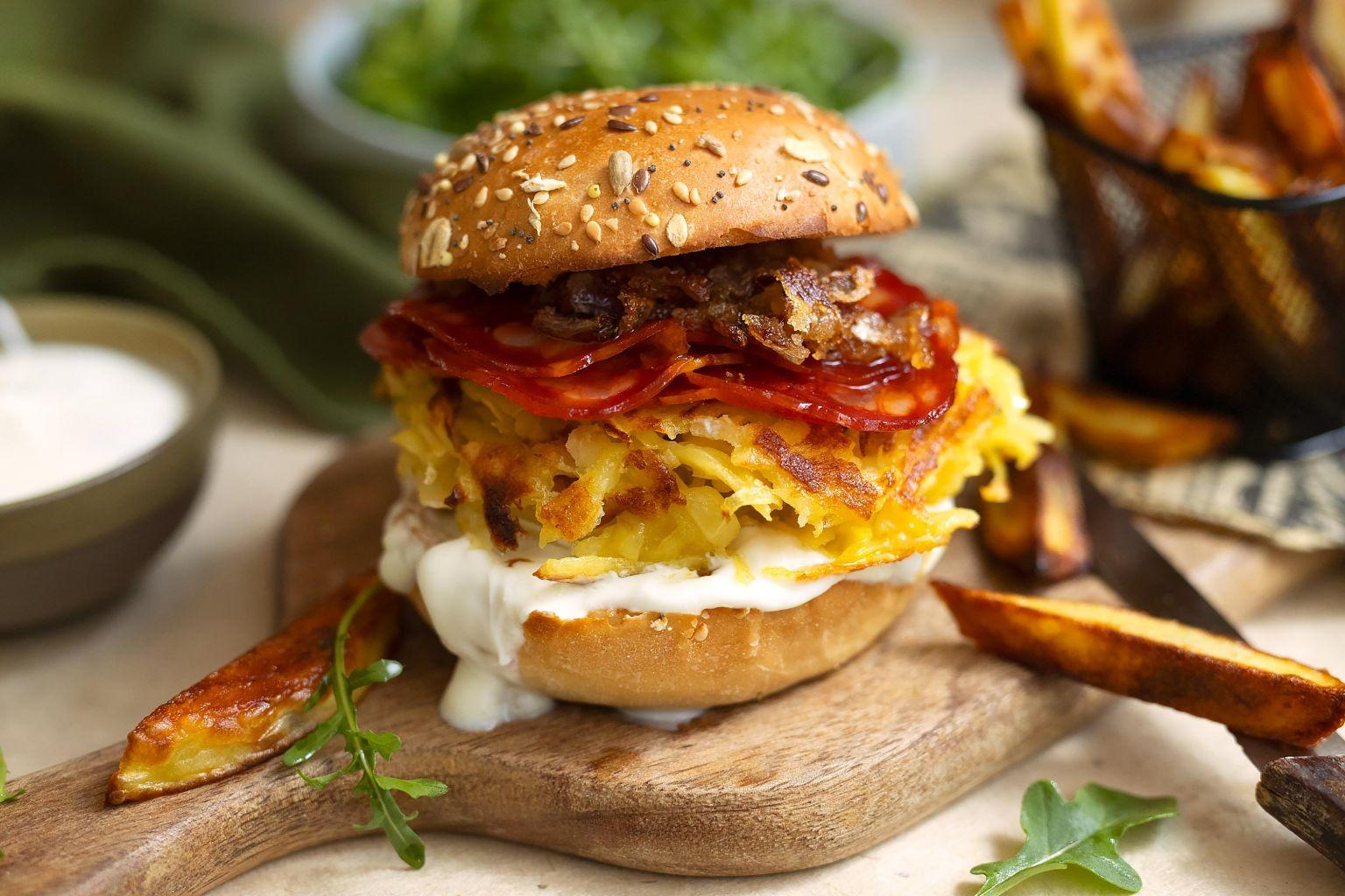 Burger au chorizo et pommes de terre, addictif