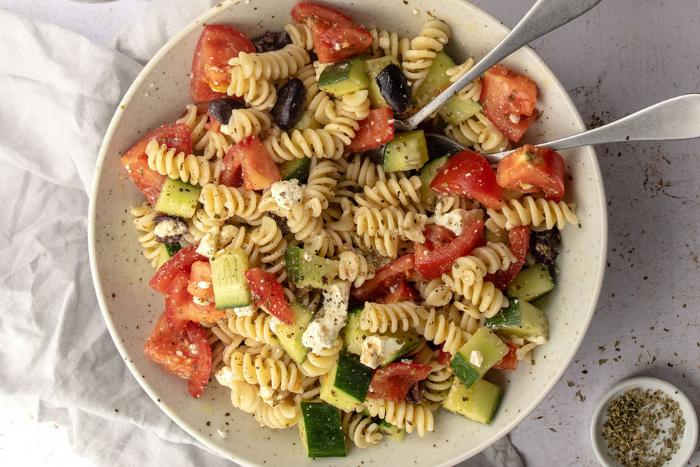 Greek pasta salad, la salade de pâtes à la grecque