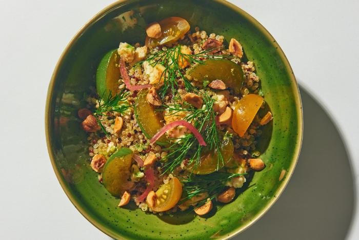 Taboulé au quinoa et prunes vertes