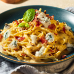 Spaghetti au Gorgonzola et speck grillé